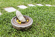 Stepping Stones Prints - Pestle Mortar Bird Bath Print by Kantilal Patel