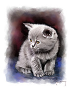 Kitten Mixed Media Framed Prints - Pet Cat Portrait Framed Print by Michael Greenaway