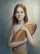 Surreal Girl Framed Prints - Pet Framed Print by Diego Fernandez