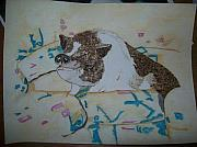Original Watercolor Pyrography - Pet Portrait Burned on Paper by Pigatopia by Shannon Ivins