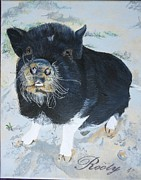 Potbelly Pig Paintings - Pet Portrait Memorial Black Pot Bellied Pig Made to Order 3 inch x 4 inch with Free Easel  by Shannon Ivins