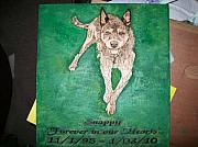 Plaque Pyrography Posters - Pet Portrait Wood Burn Wall Plaque U Provide Picture by Pigatopia Poster by Shannon Ivins