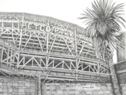 Baseball Stadiums Drawings Prints - Petco Park Print by Juliana Dube