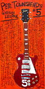Iconic Guitars Painting Originals - Pete Townshends Les Paul 5 by Karl Haglund
