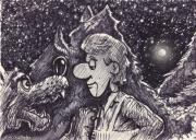 Cartoon Drawings - Peter and the Wolf  by Cristophers Dream Artistry
