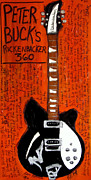 Rickenbacker Guitars Paintings - Peter Buck Rickenbacker by Karl Haglund