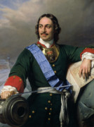 Russia Painting Posters - Peter I the Great Poster by Delaroche