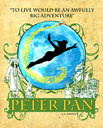 Pirates Mixed Media Framed Prints - Peter Pan Tribute Framed Print by William Depaula