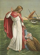 Bible Painting Prints - Peter Walking on the Sea Print by English School