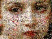 Photomosaic Prints - Petite fille au bouquet detail Print by Gilberto Viciedo
