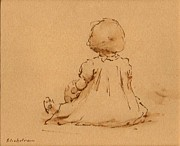 Sepia Ink Drawings - Petite Fille by Thor Wickstrom