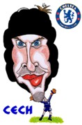 Chelsea Drawings Posters - Petr Cech Poster by Tom Glover