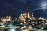 Moonlit Night Photos - Petrochemical Factory At Night by Ria Novosti
