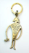 Country Jewelry - Petroglyph Man Key Ring Charm for Men by Virginia Vivier