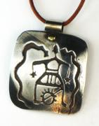 Handcrafted Jewelry - Petroglyph Shaman Amulet - Fine Silver Necklace by Virginia Vivier