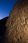 Ancient Indian Art Metal Prints - Petroglyphs Are Seen At Twilight Metal Print by Ralph Lee Hopkins