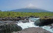 Chile Prints - Petrohue Falls And Osorno Volcano Print by Pcontreras
