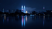 Nightlights Framed Prints - Petronas Towers taken from Lake Titiwangsa in KL Malaysia. Framed Print by Zoe Ferrie