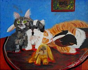 Puppies Painting Originals - Pets Home by Jayne Kerr