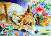 Puppies Paintings - Petunias - Pembroke Welsh Corgi by Lyn Cook