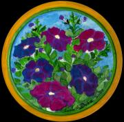 Contemporary American Folk Art Framed Prints - Petunias Framed Print by Anna Folkartanna Maciejewska-Dyba