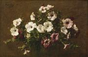 Floral Arrangement Paintings - Petunias by Ignace Henri Jean Fantin-Latour