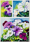 Purples Paintings - Petunias in Summer by Janis Grau