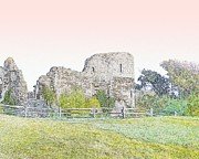 Roman Ruins Digital Art Posters - Pevenseys Roman castle Poster by Sharon Lisa Clarke