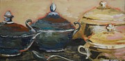 Bowls Paintings - Pewter and Silver Bowls by Fran Atchison