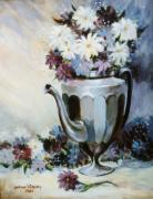 Pewter Paintings - Pewter Coffee Pot and Daisies by JoAnne Corpany