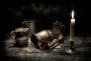 Tableware Art - Pewter Still Life I by Tom Mc Nemar