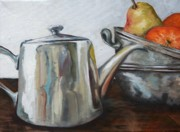 Silver Tea Pot Paintings - Pewter Teapot and Bowls by Amy Higgins