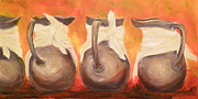 Pitchers Painting Metal Prints - Pewter Water Pitchers 2 Metal Print by Lisa Schorr