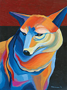 Western Abstract Painting Originals - Peyote Coyote by Mike Lawrence