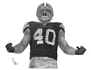 Cleveland Drawings Framed Prints - Peyton Hillis Framed Print by Bobby Shaw