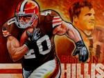 Running Back Painting Framed Prints - Peyton Hillis Framed Print by Jim Wetherington
