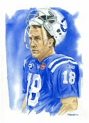 Football Painting Acrylic Prints - Peyton Manning - Heart of the Champion Acrylic Print by George  Brooks