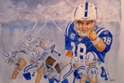 Athletes Painting Prints - Peyton Manning - Perfect Storm Print by George  Brooks