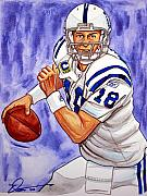 Football Paintings - Peyton Manning by Dave Olsen