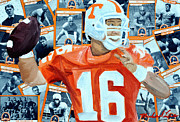 Football Mixed Media - Peyton Manning by Michael Lee