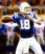 Nfl Digital Art Metal Prints - Peyton Manning Metal Print by Paul Ward