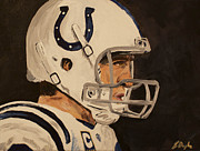League Painting Prints - Peyton Manning Print by Steven Dopka