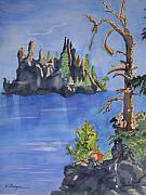 Crater Lake Paintings - Phantom Ship at Crater Lake National Park  by Warren Thompson