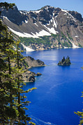 Crater Lake National Park Prints - Phantom Ship On Crater Lake Print by Daniel Cummins