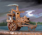 Phantom Digital Art - Phantom Steam Tractor by Stuart Swartz