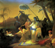 Pharaoh Painting Prints - Pharaohs Daughter Finding Baby Moses Print by Konstantin Flavitsky