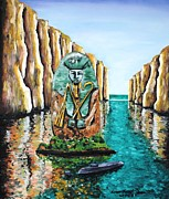 Pharaoh Painting Prints - Pharaohs Island Print by Leon Saint-Denis