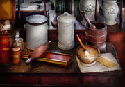 Mortar And Pestle Framed Prints - Pharmacist - Equipment for making pills  Framed Print by Mike Savad
