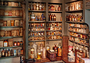 Medicine Posters - Pharmacy - Get me that bottle on the second shelf Poster by Mike Savad