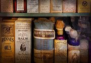 Mystery Prints - Pharmacy - Oils and Balms Print by Mike Savad